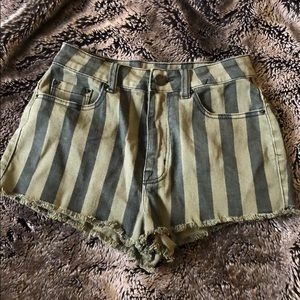 Urban Outfitters BDG Striped Green HighRise Shorts